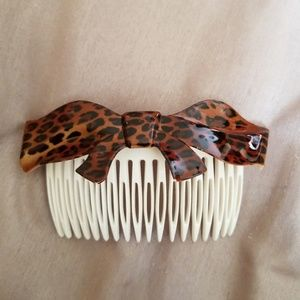 Leopard Pattern Bow Hair Comb